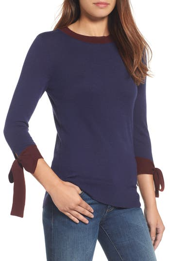 Halogen Tie Sleeve Crewneck Sweater, Blue