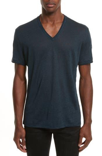 John Varvatos Linen V-Neck T-Shirt, Blue