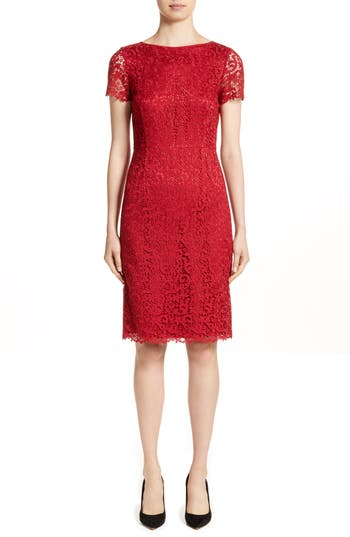 Lafayette 148 New York Marquis Lace Dress, Red