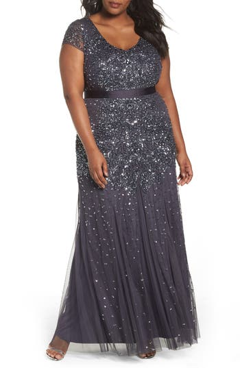 Plus Size Adrianna Papell Beaded V-Neck Gown