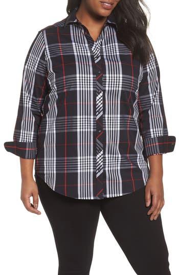 Plus Size Foxcroft Fay Glasgow Tartan Shirt, Black