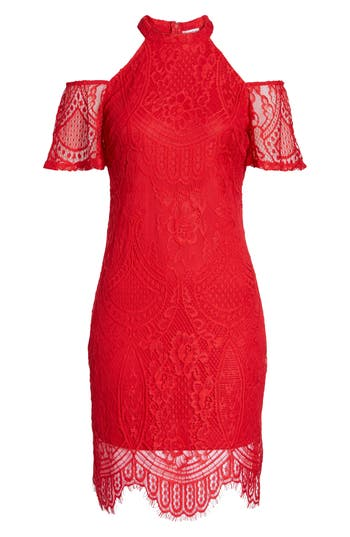 Love, Fire Lace Cold Shoulder Dress, Red