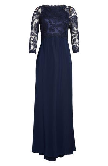 Tadashi Shoji Embroidered Lace Gown, Blue