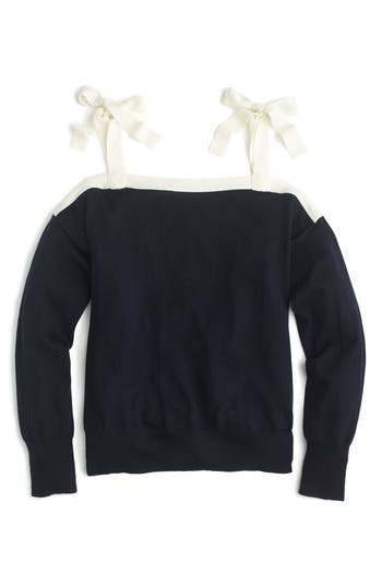 J.crew Cold Shoulder Merino Wool Sweater, Blue