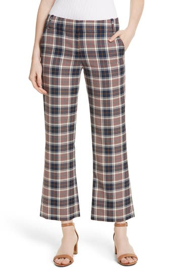 Tory Burch Garrett Plaid Crop Flare Pants, Blue