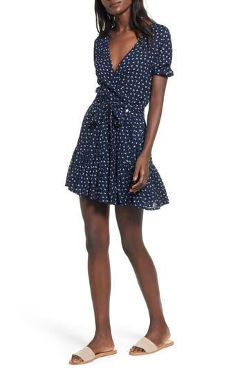 Women's Faithfull The Brand Liza Print Wrap Dress, Size X-Small - Blue