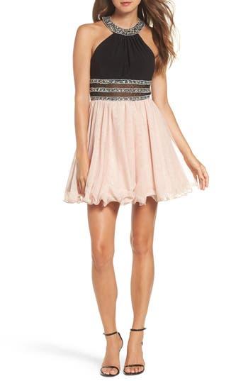 Blondie Nites Embellished Colorblock Skater Dress, Pink