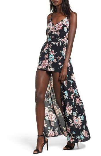 Women's Bp. Floral Print Maxi Romper, Size XX-Small - Black