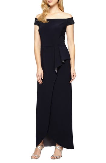 Alex Evenings Embellished Off The Shoulder Gown, Blue