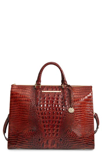 Brahmin Melbourne Croc Embossed Leather Business Tote - Brown