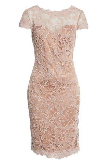 Tadashi Shoji Embroidered Lace Sheath Dress, Pink