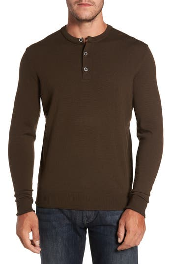 Thomas Dean Merino Blend Henley, Brown