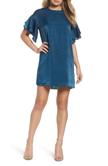 Women's Nsr Ruffle Charmeuse Shift Dress, Size Small - Blue