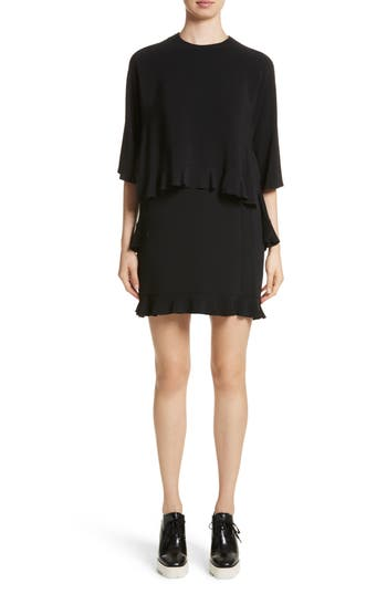 Stella Mccartney Ruffle Overlay Stretch Cady Dress, 6 IT - Black