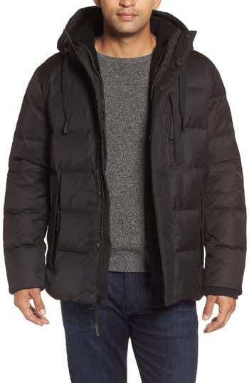 Men's Andrew Marc Groton Slim Down Jacket With Faux Shearling Lining, Size Small - Black