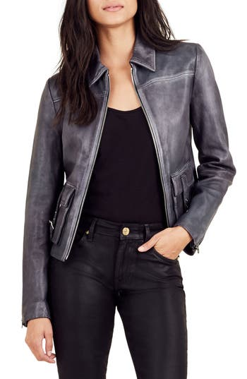 True Religion Brand Jeans Leather Jacket, Black