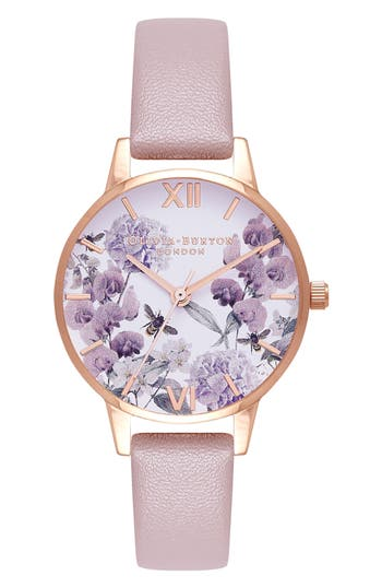 Women's Olivia Burton Bee Floral Faux Leather Strap Watch, 30Mm
