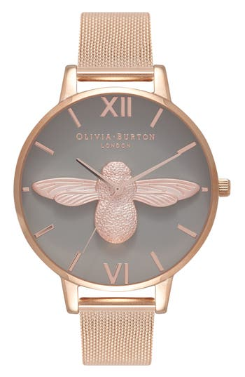Women's Olivia Burton Molded Bee Mesh Strap Watch, 38Mm