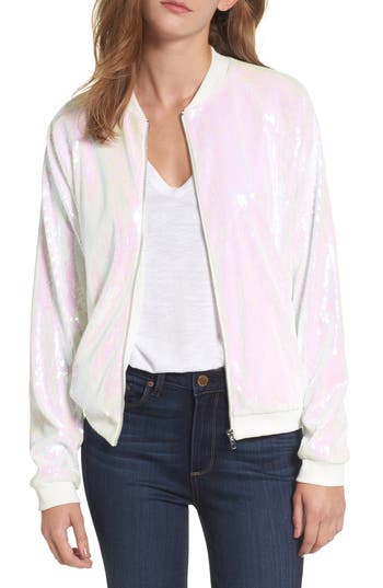 Women's Hayley Paige Sparkle Bride Bomber Jacket, Size Small - White
