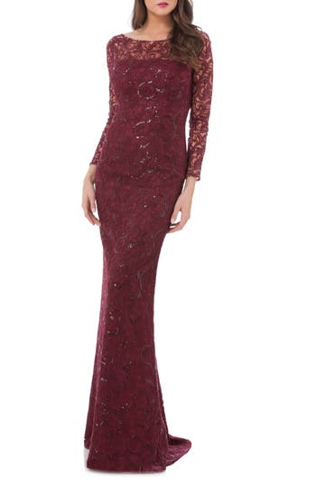 Carmen Marc Valvo Infusion Sequin Lace Mermaid Gown, Burgundy