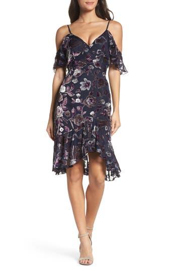 Chelsea28 Cold Shoulder Burnout Velvet Dress, Black