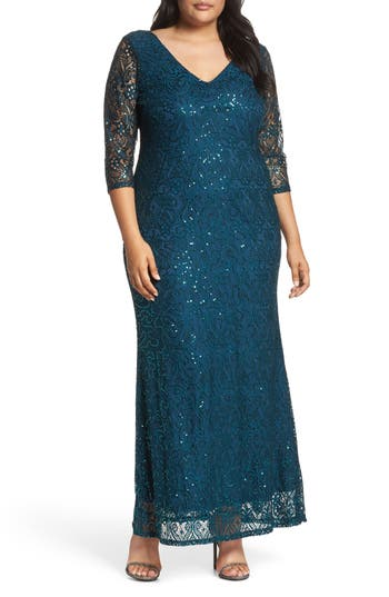 Plus Size Women's Marina Sequin Lace A-Line Gown, Size 14W - Green