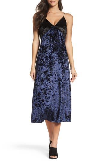 Women's Nsr Crushed Velvet Slipdress, Size Small - Blue