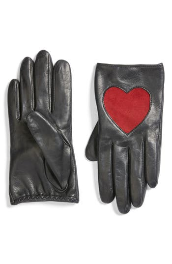 Women's Fownes Brothers Heart Leather Gloves, Size Large - Black