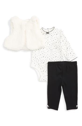 Infant Girl's Little Me Dalmatian Fleece Vest, Bodysuit & Leggings Set