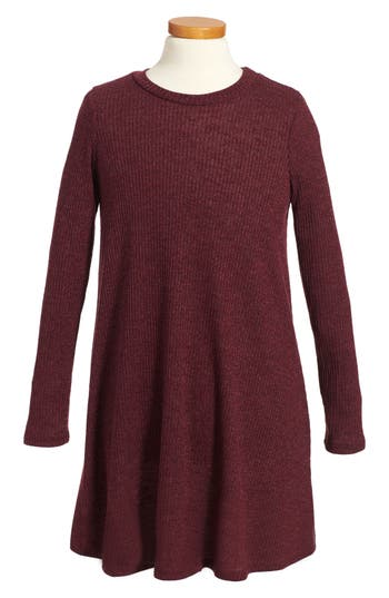 Girl's Soprano Rib Knit Sweater Dress, Size S (8-10) - Burgundy