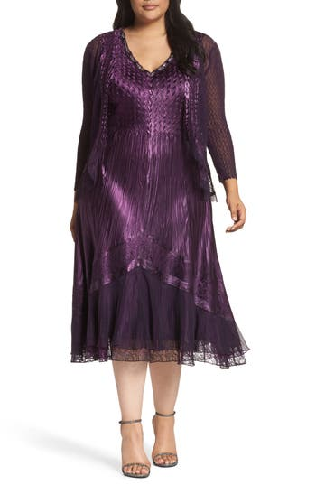 Plus Size Komarov Mixed Media A-Line Dress & Jacket, Purple