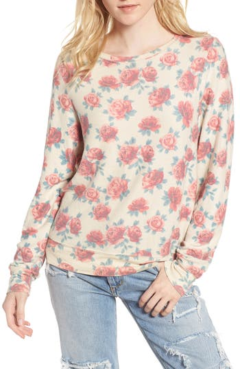 Women's Wildfox Rose Print Baggy Beach Jumper Pullover