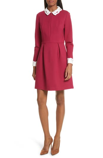 Ted Baker London Shealah Embroidered Trim A-Line Dress, Pink