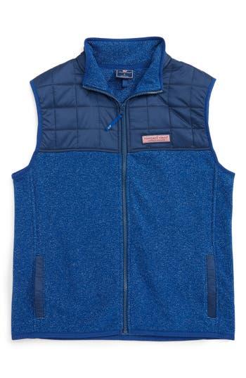 Boy's Vineyard Vines Jacquard Fleece Vest, Size M (12-14) - Blue