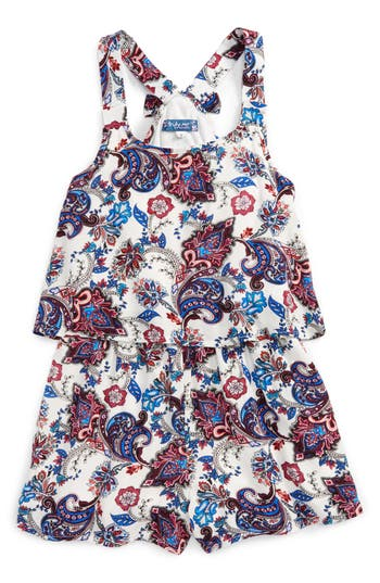 Girls Truly Me Paisley Print Popover Romper