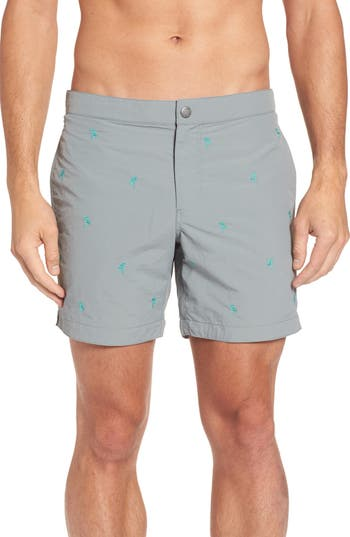 Boto Aruba Tailored Fit Embroidered Palm Swim Trunks, Grey