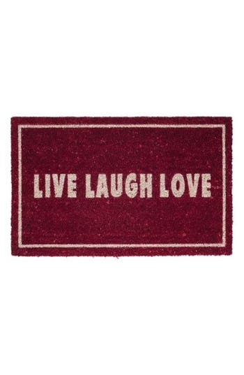 Bovi Live Laugh Love Door Mat, Size One Size - Red