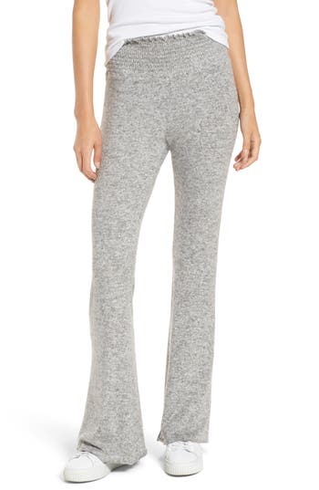 Hinge Smocked Waist Flare Leg Sweatpants, Grey