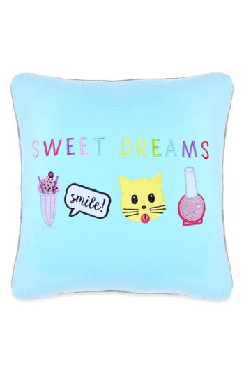 Capelli New York Sweet Dreams Appliqued Pillow, Size One Size - Blue