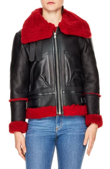 Sandro Genuine Dyed Shearling Jacket, Red