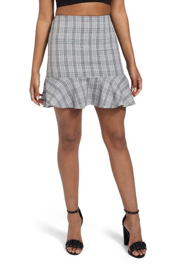 Missguided Frilled Hem Miniskirt, US / 4 UK - Grey