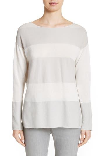 Women's Fabiana Filippi Popcorn Stripe Metallic Knit Sweater, Size 2 US / 38 IT - Grey