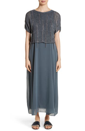 Fabiana Filippi Knit Overlay Stretch Silk Dress, 8 IT - Grey