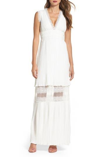 Foxiedox Jasmine Lace Inset Pleated Dress, Ivory