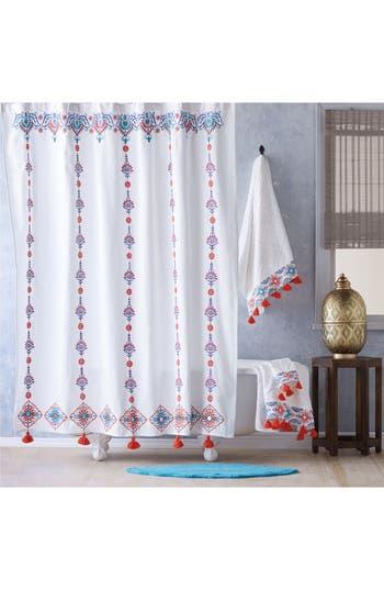 John Robshaw Aloka Shower Curtain, Size One Size - Coral