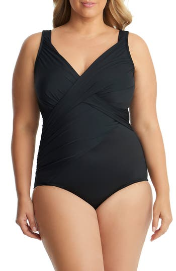 Plus Size Miraclesuit Revele One-Piece Swimsuit, Black