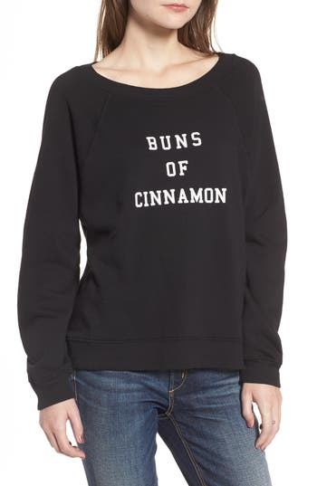 Women's Wildfox Buns Of Cinnamon Sweatshirt, Size XX-Small - Black