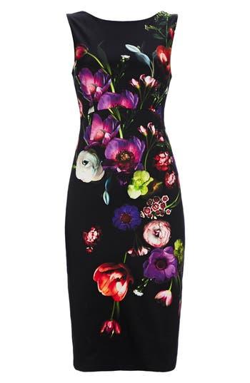Wallis Floral Sheath Dress, US / 10 UK - Black