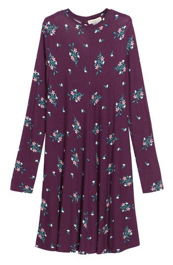 Girl's Tucker + Tate Floral Print Knit A-Line Dress, Size S (7-8) - Purple