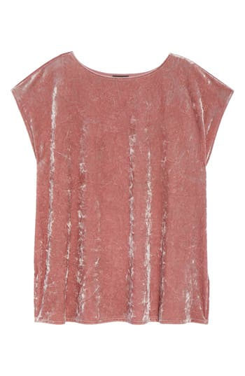Plus Size Vince Camuto Crushed Velvet Knit Tee, Pink
